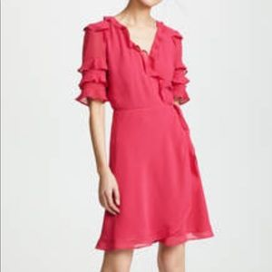 Pink mini wrap dress